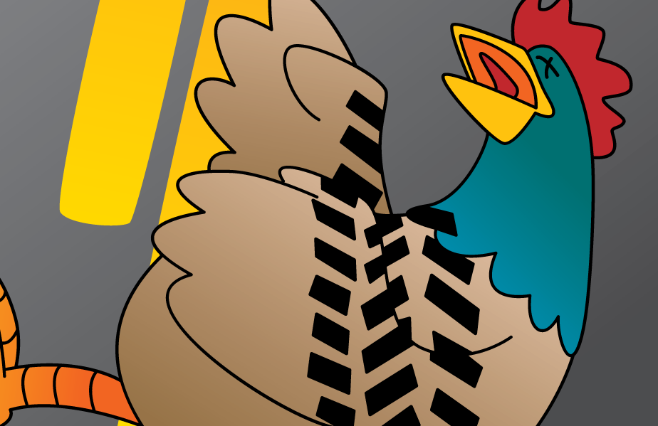 Roadkill, is a Rooster you can use to dominate your opponents in Oh Cluck!, the debut game from Foolish Media
