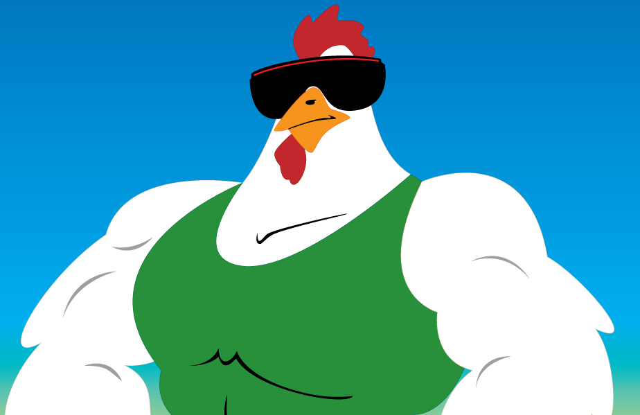 Schwartz, one of the Roosters competing in the barnyard brawl known as Oh Cluck!