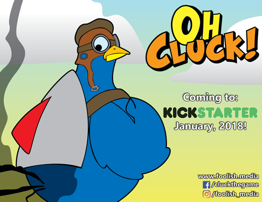 One of 4 Promotional Postcards for Oh Cluck! Available at Con on the Cob!