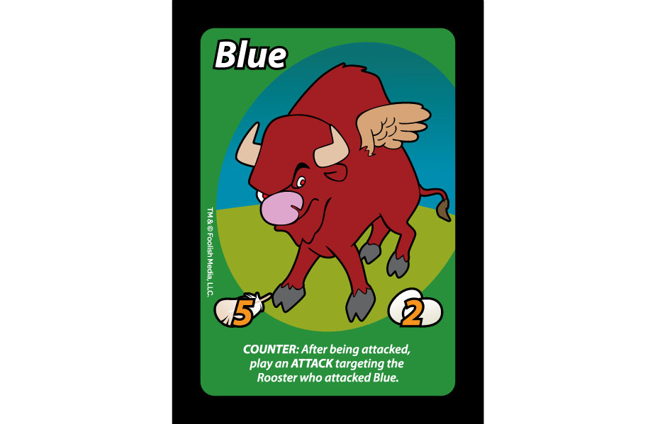 "Blue is the largest ""Rooster"" you can have in the Party Card Game Oh Cluck! from Foolish Media LLC"