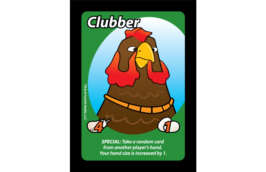 Clubber, and his Gold Chain is a Rooster that you can use in the Barnyard Brawl known as Oh Cluck!, the debut Party Card Game from Foolish Media LLC