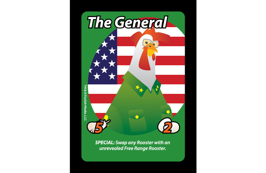 The General is one of the Roosters that you will command from your coop in Oh Cluck! The party card game from Foolish Media LLC