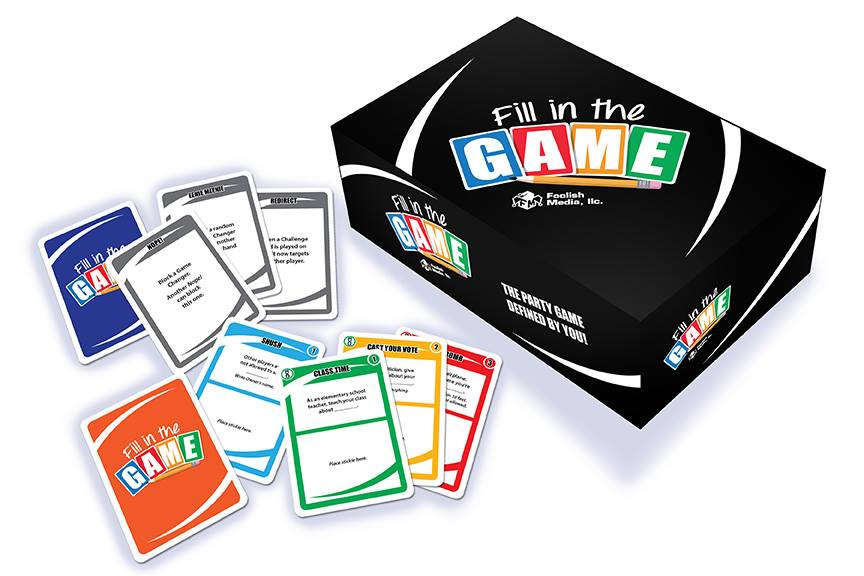 Fill in the Game packaging and cards