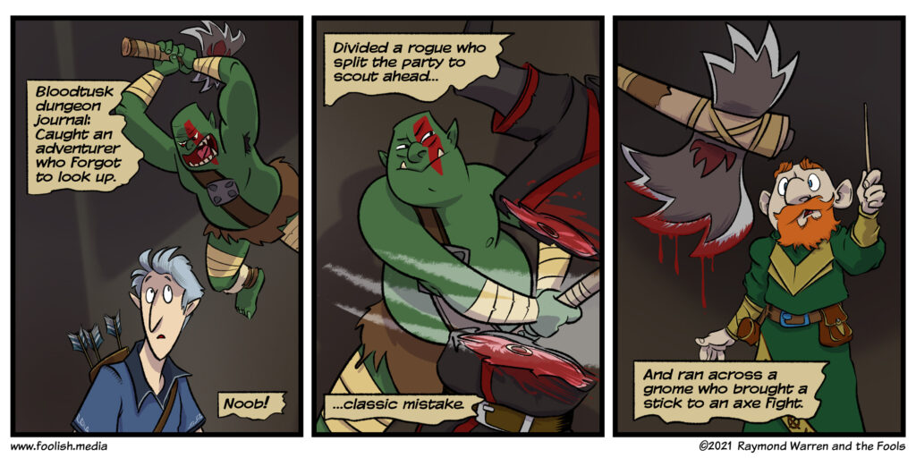 Bloodtusk regales the tales of dungeon boss anctics