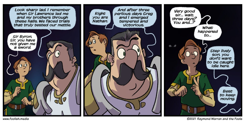 Sir Byron Regales his Squire with tales from the dungeon